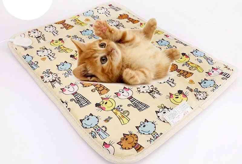 Cat Dog Electric Heating Pet Pad Heater Mat Bed Body Winter Warmer Carpet Blanket Heated Seat