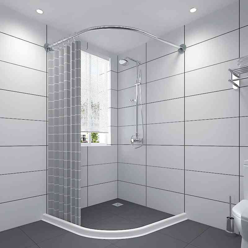 Extendable Curved Shower Curtain Rod, L Shaped, Stainless Steel, Poles Punch-free, Bathroom Rail