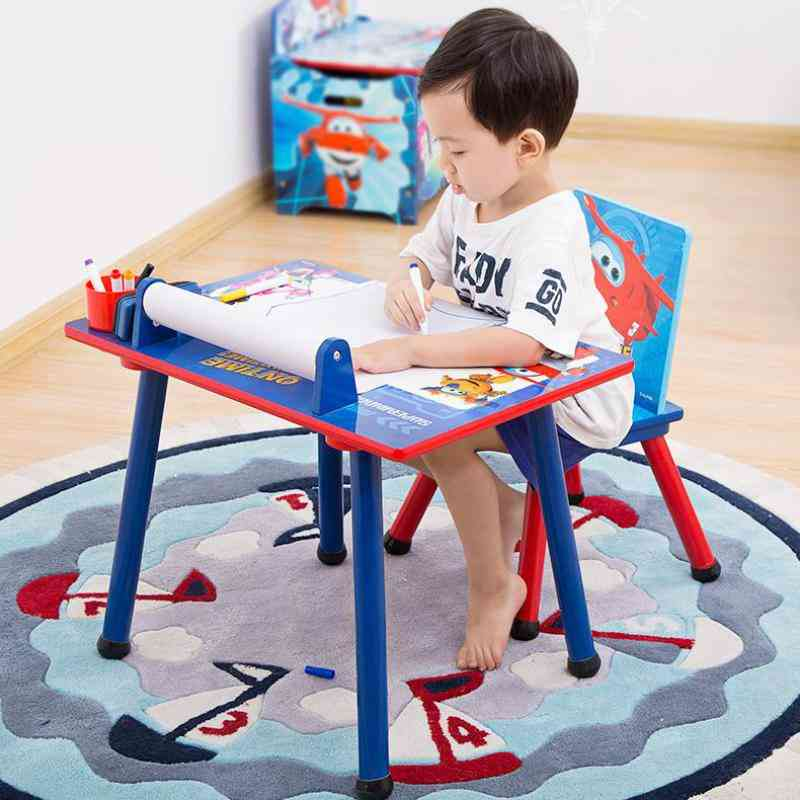 Solid Wooden Cartoon's Desks And Chairs Set