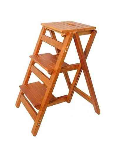Solid Wood Household Multifunctional Two-step Folding Ladder Step Stool Indoor Climbing Ladder