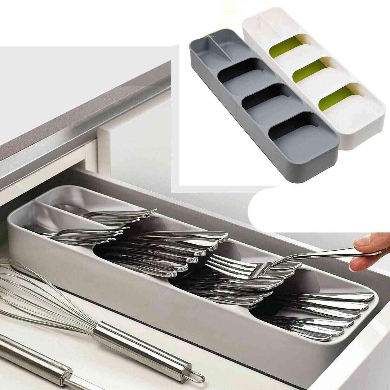 Compact Cutlery Spoon Utensil Tray Drawer Organizer Insert Storage Store Box