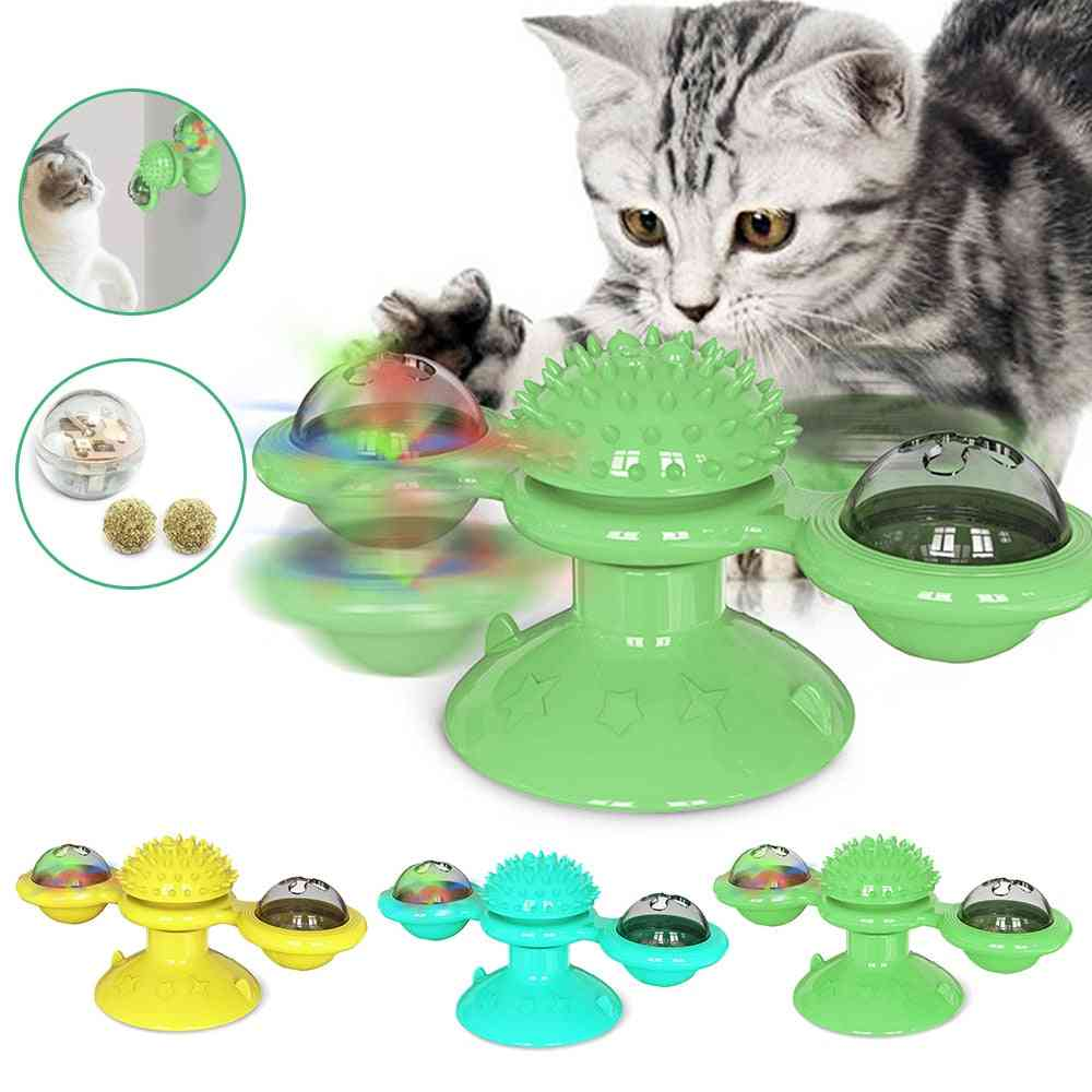 Toy For Cats, Puzzle Whirling, Turntable Play Game, Training Kitten Interactive Supplies, Pet Toothbrush