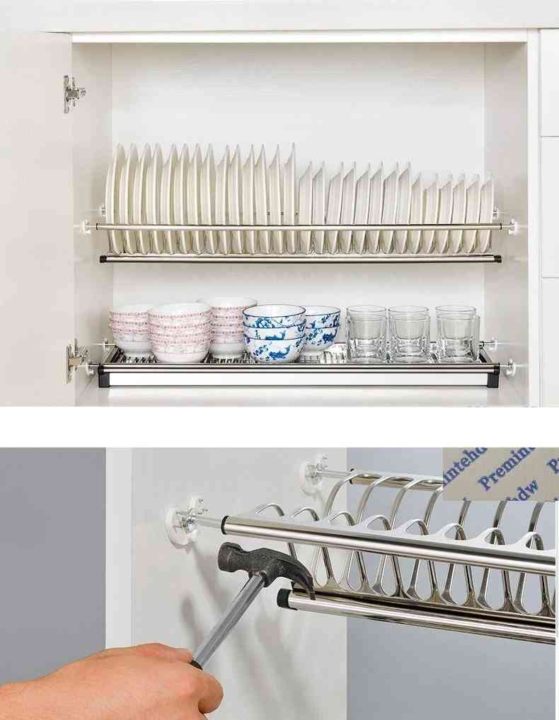 Boring Free Diy 2-tier Stainless Steel Cupboard Cabinet Inside Dish Plate Drying Rack Storage Organizer Holder Water Collector