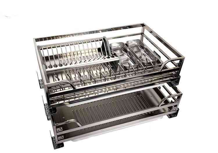 Cabinet Stainless Steel Square Tube Pull Basket Damping Kitchen Dish Push