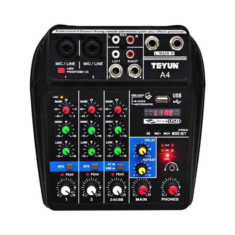 Phantom Power Delay Repaeat Effect 4 Channels Usb Audio Mixer