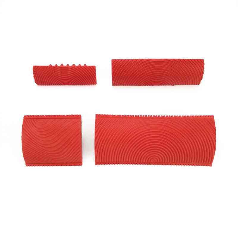 2pcs Rubber Wall Texture Roller Imitation Wood Grain Pattern Paint Design Brush