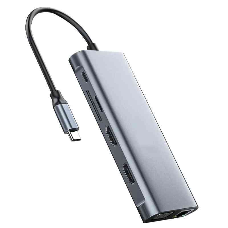 Mst Laptop Docking Station Dual Hdmi Compatible 4k Usb C Hub Usb 3.0 Pd Sd/tf Converter For Thunderbolt