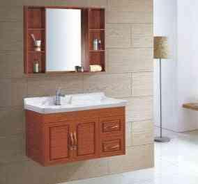 Small Wall Mounted Space Aluminum Cabinet Washroom Ceramics Basin