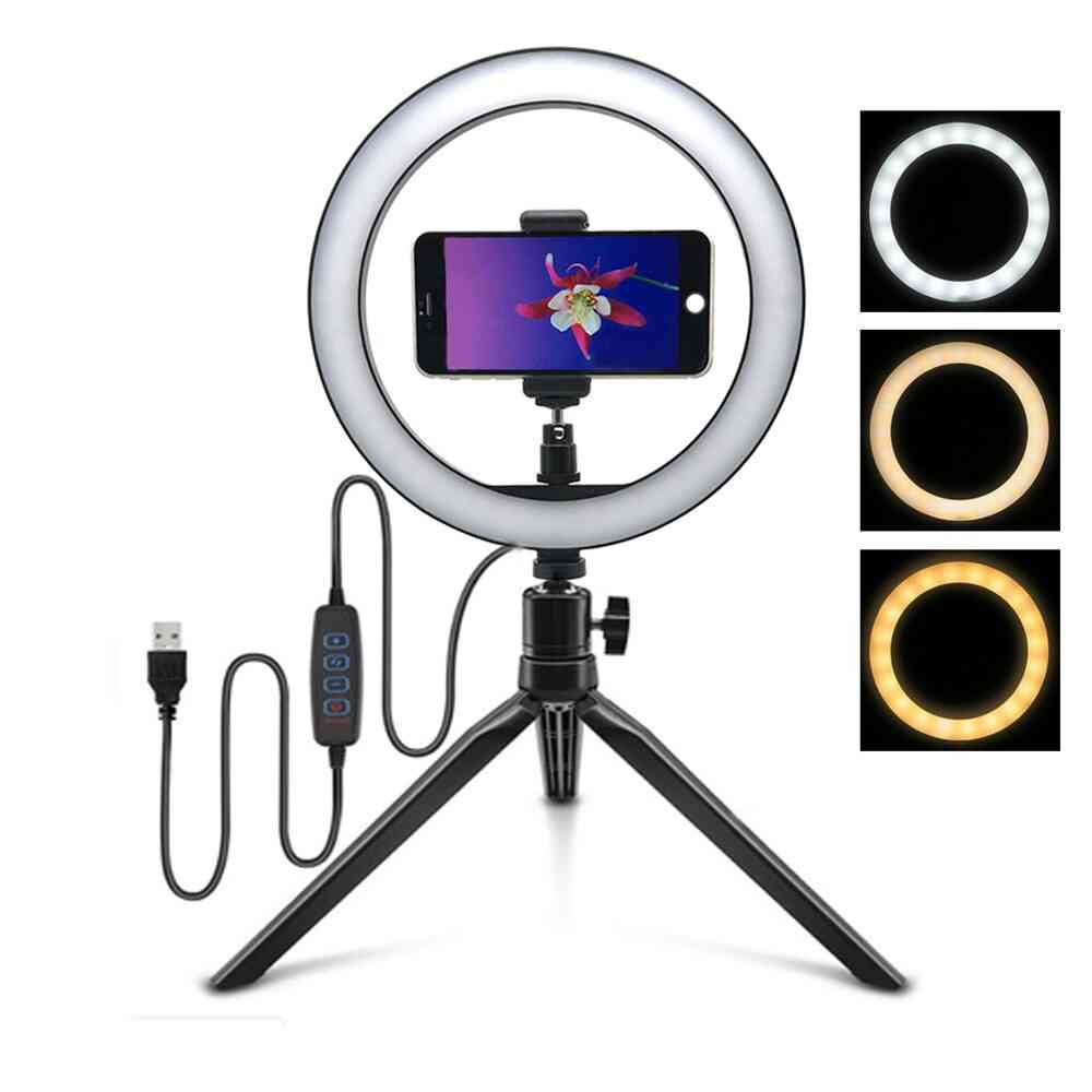 Selfie Ring Lamp, Led Live Lights With Tripod Ring, Phone Photography Lighting
