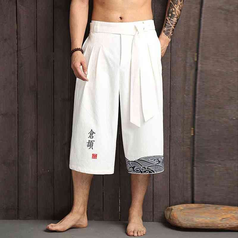 Kimono Linen Cropped Pants Asian Clothing Bath Pant Japan Style Casual Loose Trousers