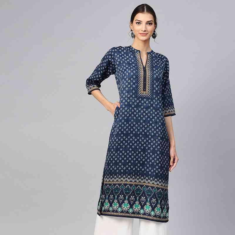 Ethnic Blouses India Dress For Women Clothing Kurtha Long Kurti Pakistani Blouse Cotton Stamp