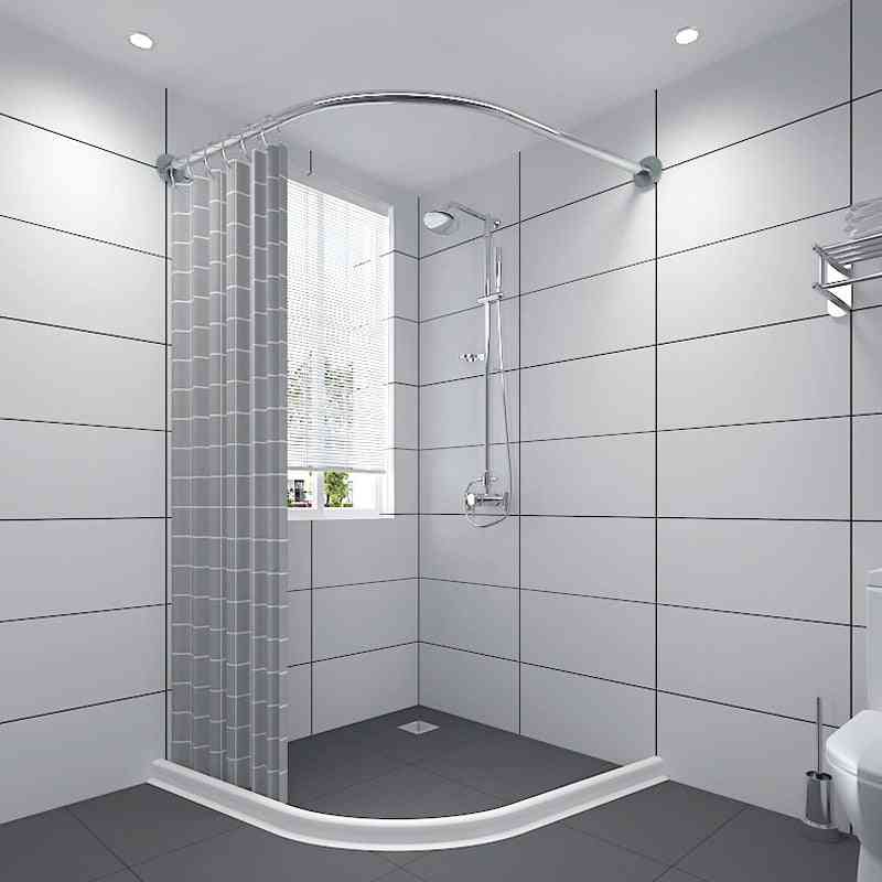 Stainless Steel Extendable Corner Shower Curtain Rod, Pole L Shape, No Punching Rail, Bar Bathroom, Hardware Heavy Loaded