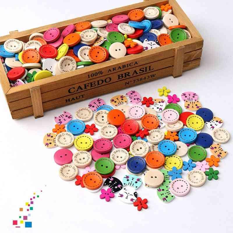 Diy Handmade Craft Wooden Button For Kids