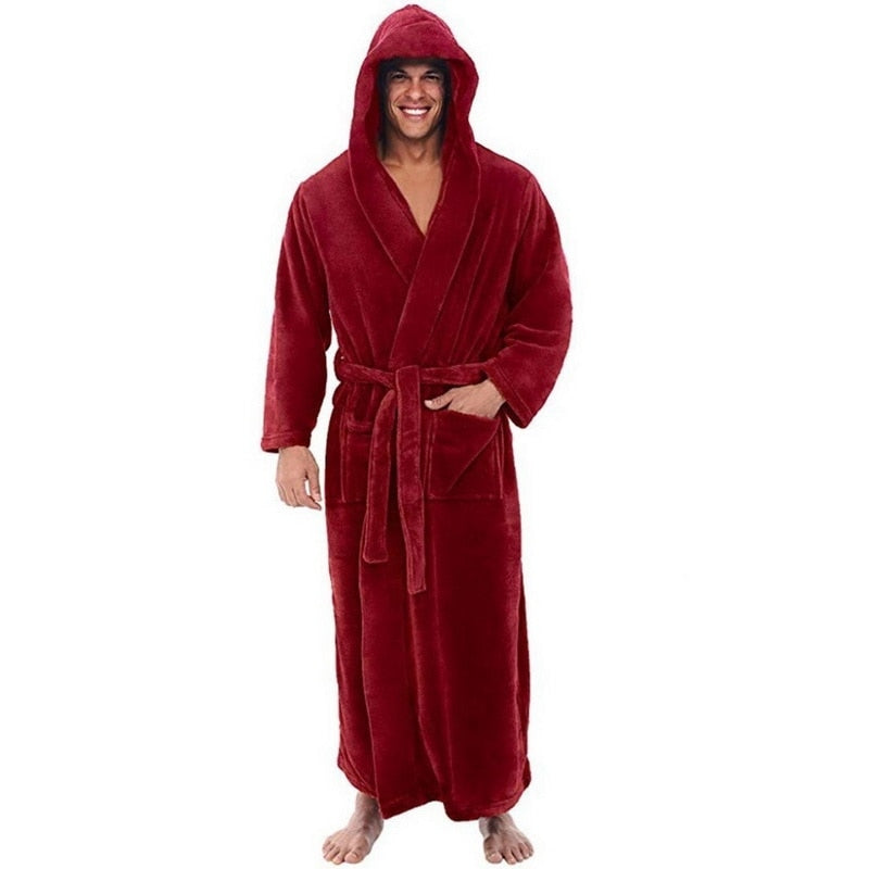 Flannel Robe Male With Hooded, Thick Warm Gown Robe, Bathrobe Extra Long Kimono, Pajamas