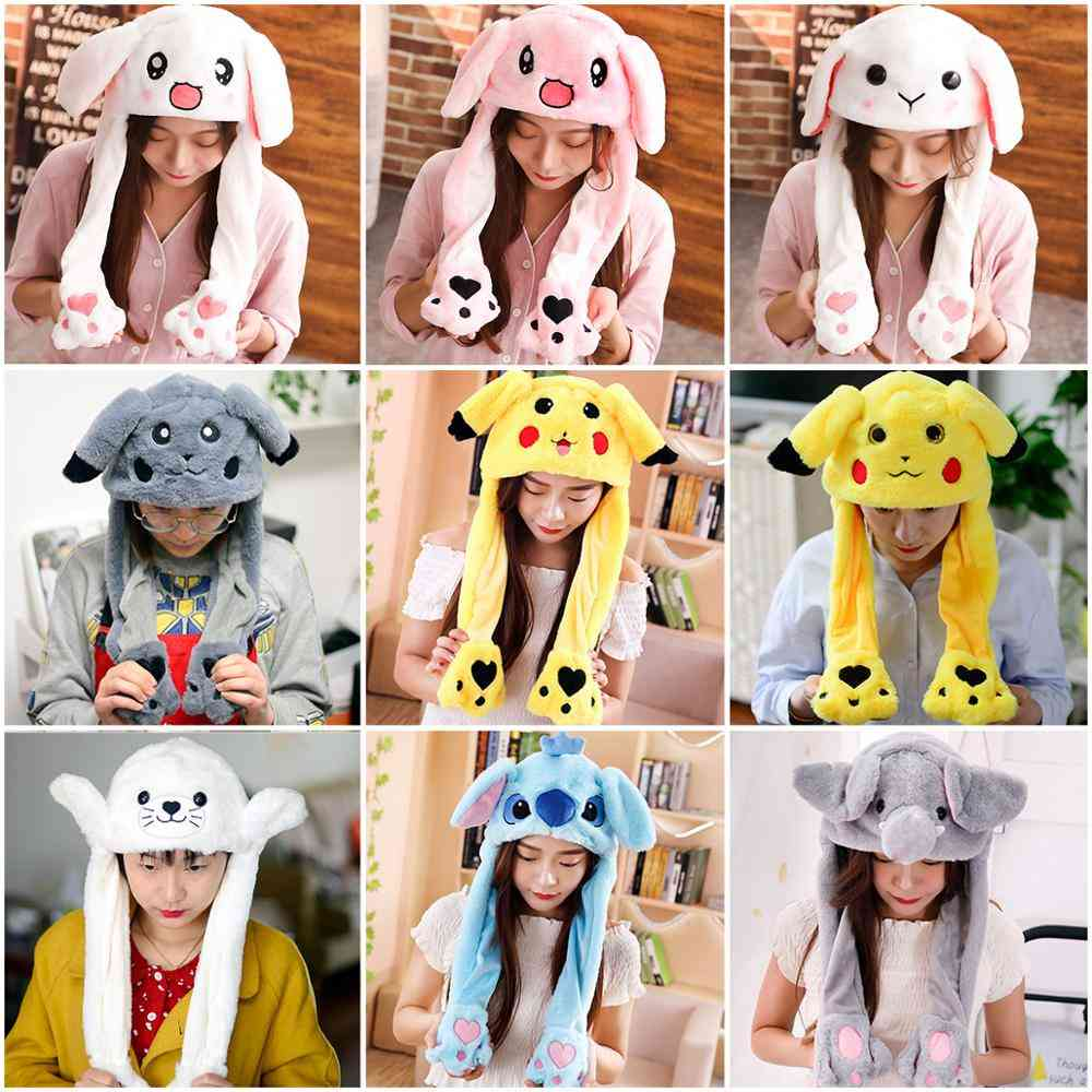 Cute Rabbit Moving Ears Airbag Hat Soft Jumping Cap