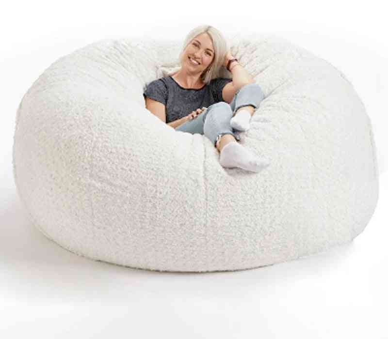 Soft Fluffy Wools Fur Beanbag Large Cashmere Fleece Living Room Lazy Sofa Party Festival Floor Seat