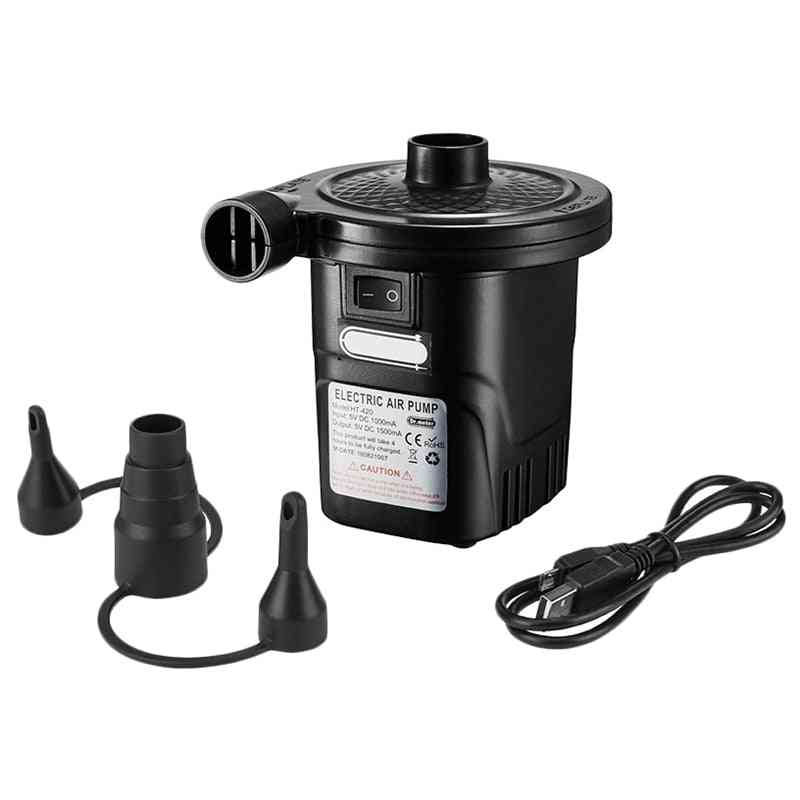 Portable Rechargeable Usb Electric Air Pump Quick-fill Inflator With 3 Nozzles (black)