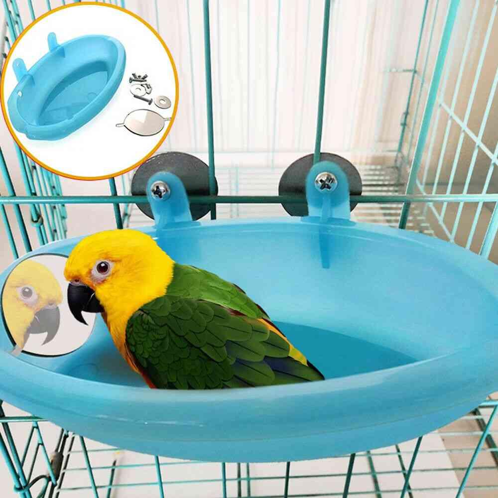 New Bird Water Bath Tub For Pet Parrot Cage Hanging Bowl Supplies Parakeet Birdbath Shower Wash Bath