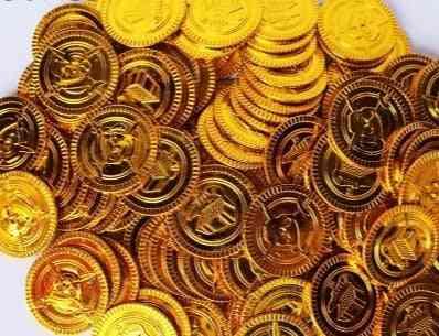 Plastic Bitcoin Gold Treasure Coins Toy