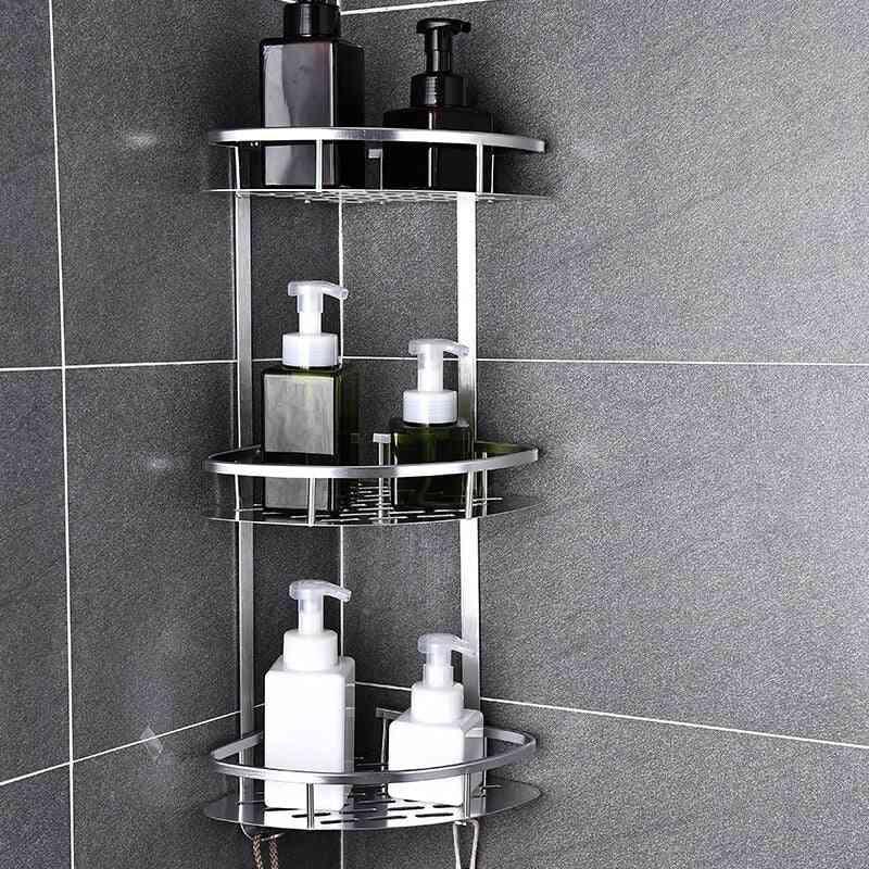 Space Aluminum Bathroom Shelf Punching Shower Caddy Kitchen Storage Basket Adhesive Suction