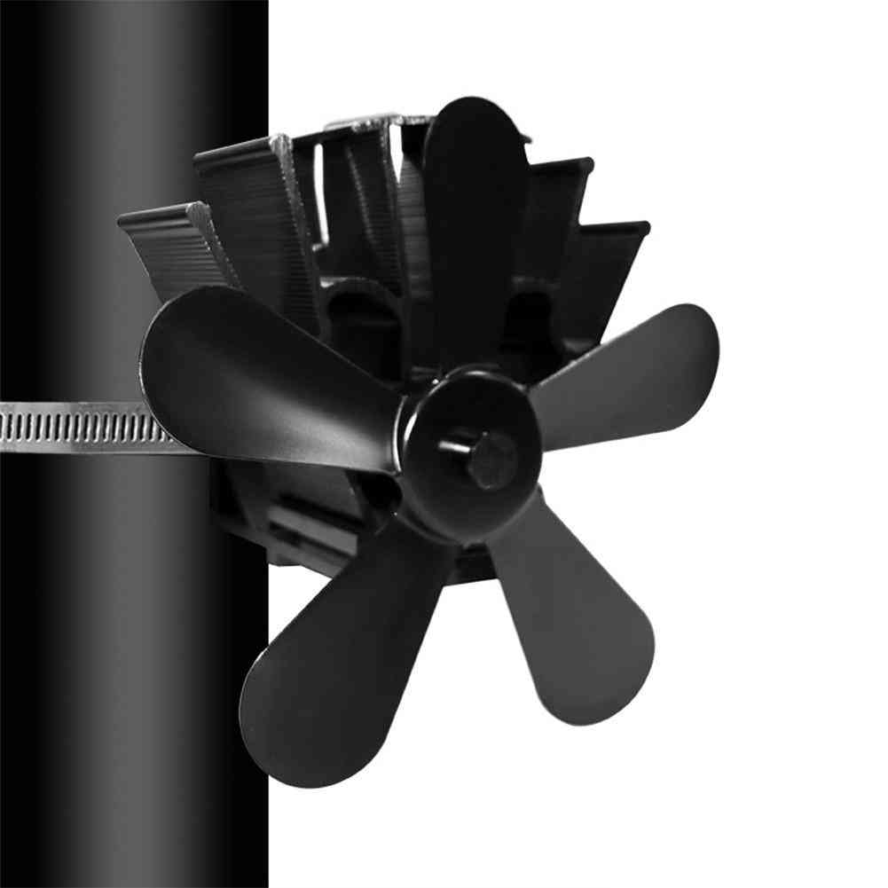 Blade Heat Powered Stove Fan Home Silent Fireplace Ultra Quiet Wood Fireplace Distribution