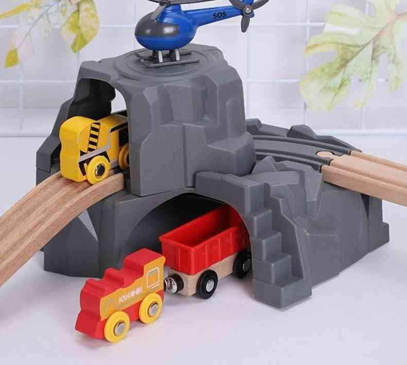 Double Tunnel Wooden Train