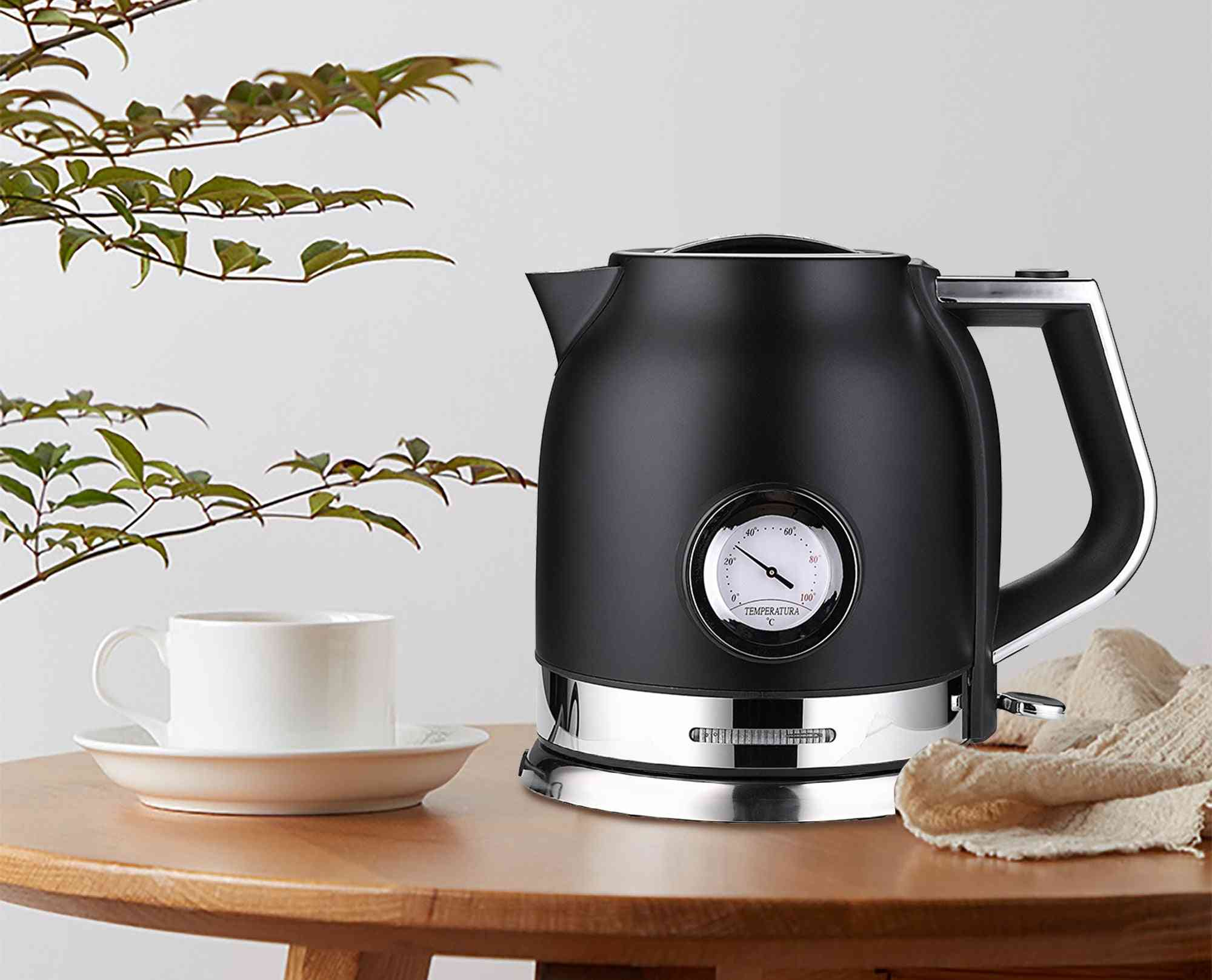 Electric Kettle Stainless Steel, Kitchen Smart Whistle, Samovar Tea Pot With Water Temperature Control Meter