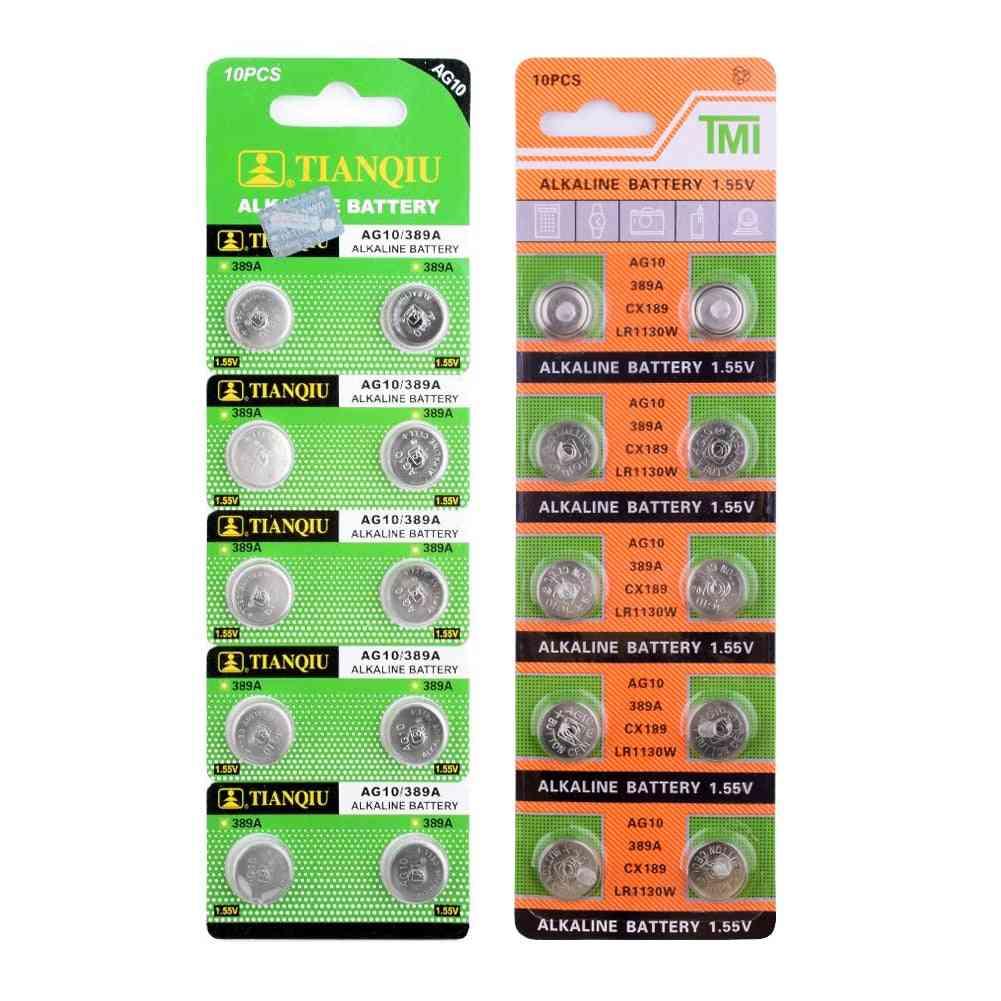 10pcs 1.55v Ag10 Lr1130 389 Sr1130 Button Batteries 189 Lr54 Cell Coin Alkaline Battery