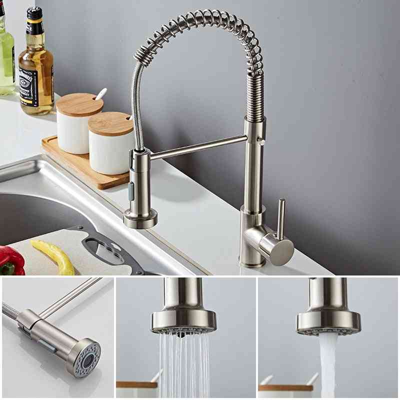 Flexible Kitchen Faucets Pull Out Mixer Tap, Hot Cold Kitchen Faucet Spring Style
