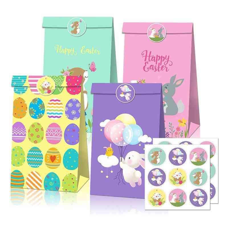 12pcs Easter Kraft Paper Bag With Sticker
