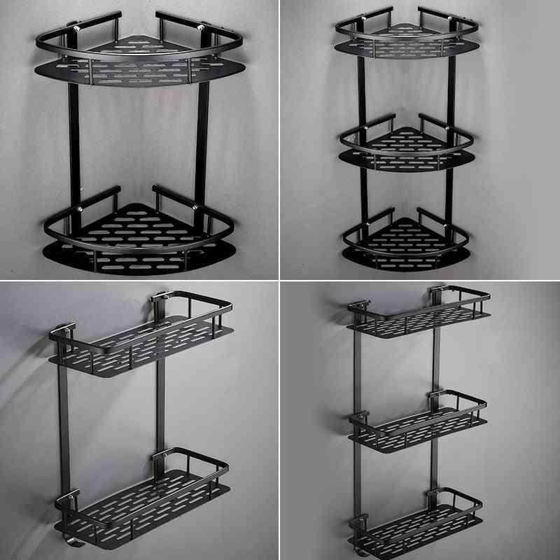 Black Triangle Basket Bathroom Corner Free Punch Bathroom Storage Rack
