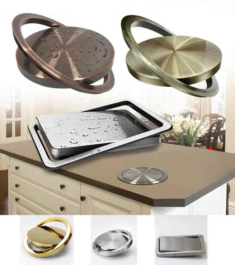 Stainless Steel Flush Recessed Built-in Balance Swing Flap Lid Cover Trash Bin Garbage Kitchen Counter