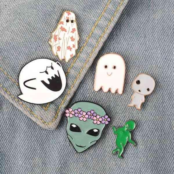 Ghost Alien Enamel Pin & Cute Boo Monster Wreath Baby Badge Brooch Lapel Shirt Bag