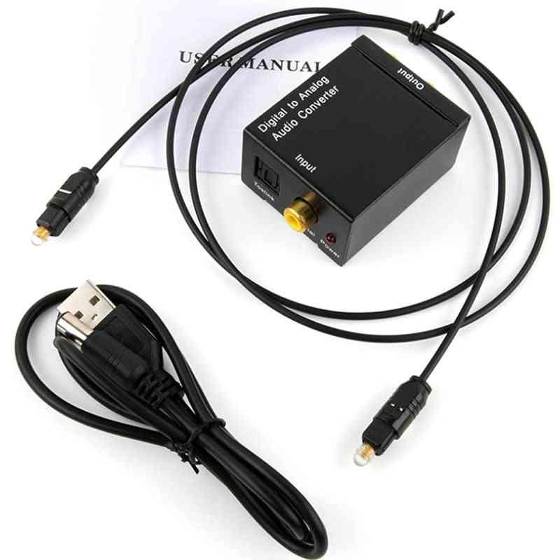 Portable 3.5mm Jack Coaxial Optical Fiber Digital To Analog Audio Aux Rca L/r Converter Spdif Digital Audio Decoder  (black)