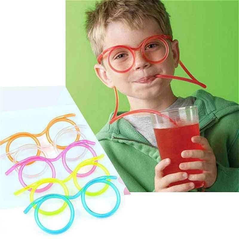 Fun Soft Plastic Glasses Flexible Drinking Straw Tube Tool