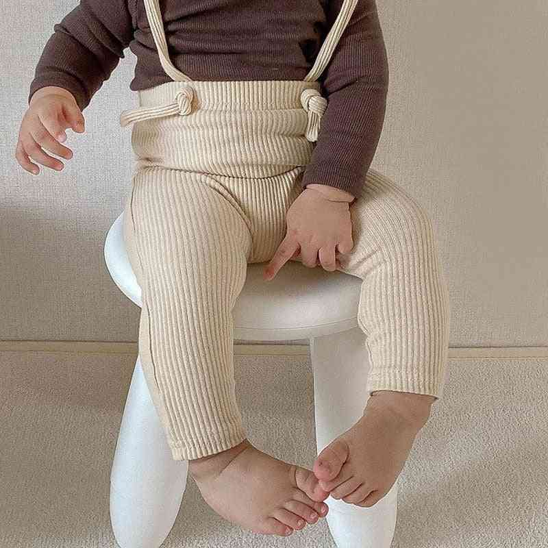 Newborn Trousers Ribbed Cotton Leggings Strap Pants For Baby Girl