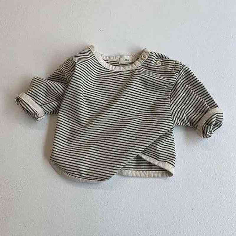 Infant Soft Cotton Long Sleeve T-shirt Baby Cute Striped Bottoming Shirt