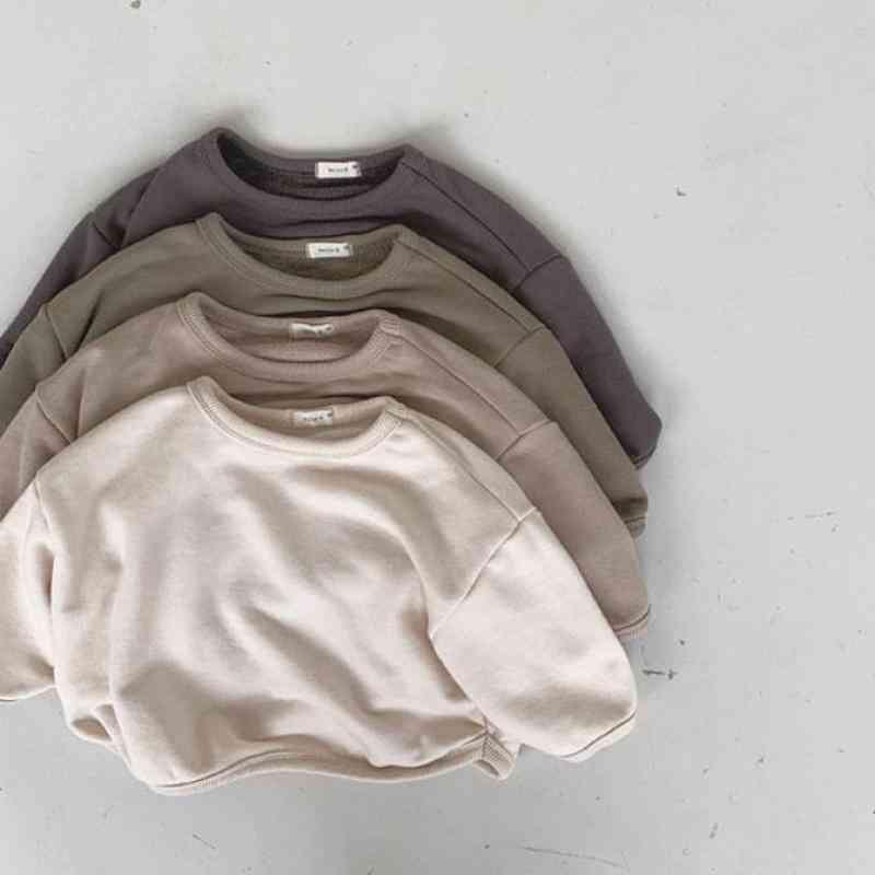 Baby/girls Solid Loose Long Sleeve Fleece Thicken Warm Pullover Sweatshirt