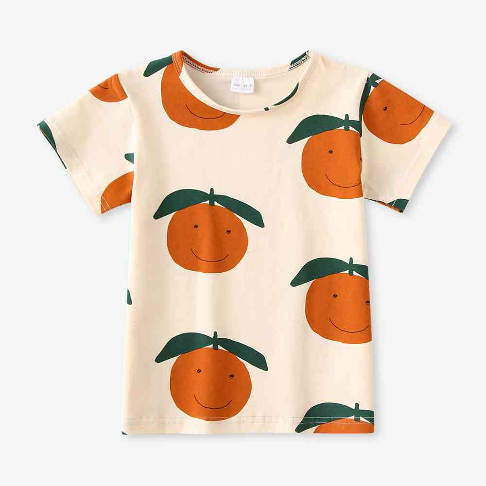 Baby Short Sleeve Shirt Top Animal Fruit Pattern Cotton T-shirt