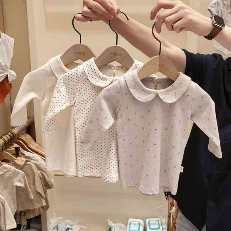 Winter Fashion Baby Doll Collar Cotton Long Sleeve Shirts Blouse Tops Clothes