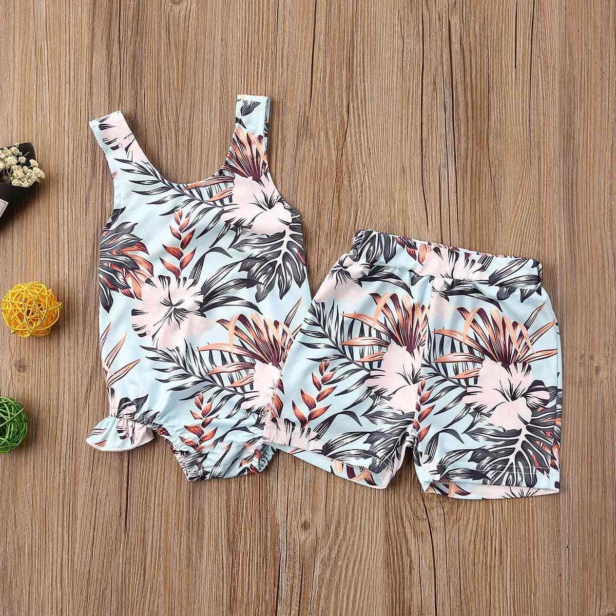 Newborn Baby Ruffles Floral Print Rompers Shorts  Swimwear Swimsuit