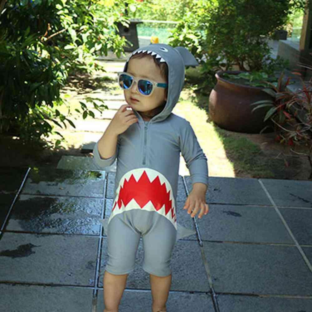 Baby Long Sleeve Cartoon Shark Hooded Beach Swimsuit