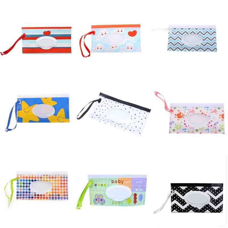 Portable Baby Wipes Dispenser - Reusable Wet Wipe Pouches