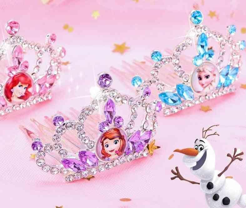 Princess Frozen Anna/elsa/ariel Dress Up Crown Wig Magic Makeup
