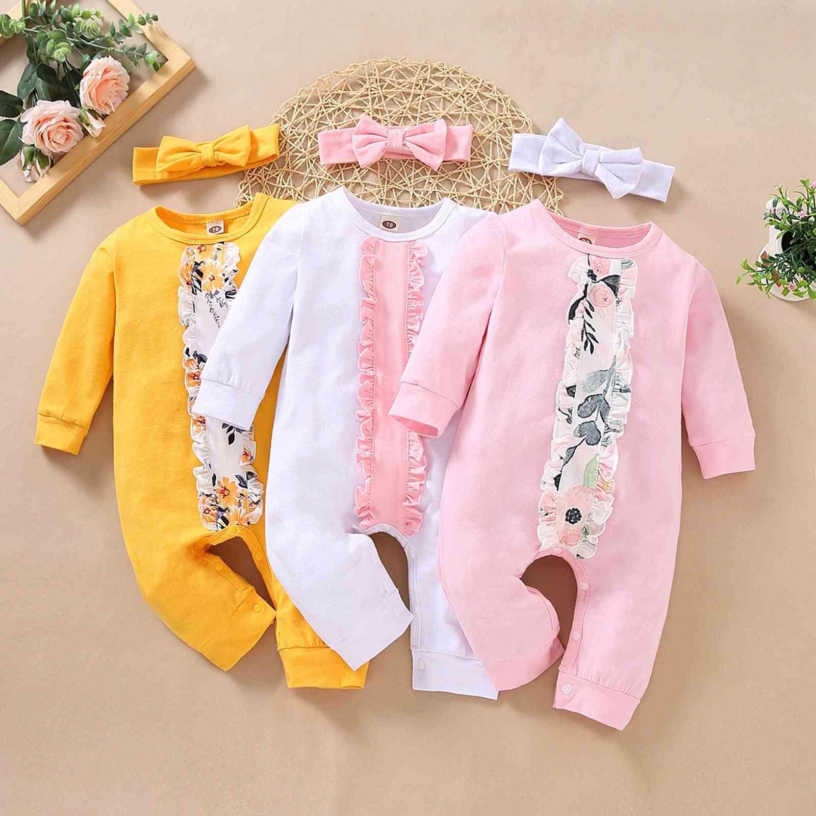 Children's Solid Color Winter Suit Newborn Long-sleeve Floral Jumpsuit Suit