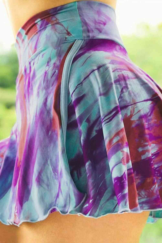 Purple Tie-dye Double-decker High Waist Sports Skirt Shorts