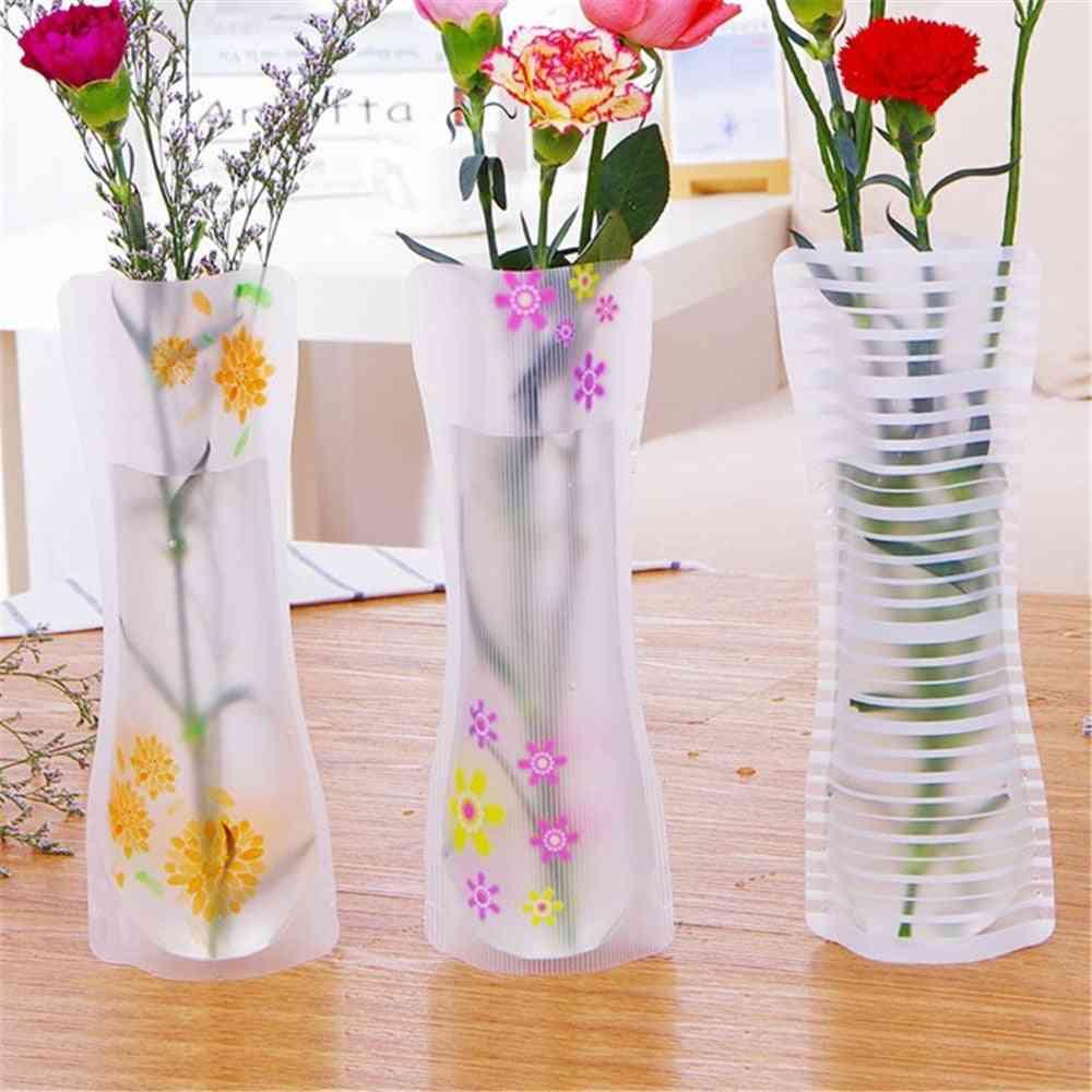 5pcs/lot Plastic Pvc Vase Portable Eco-friendly Flower Cute Foldable Vase (random Color)