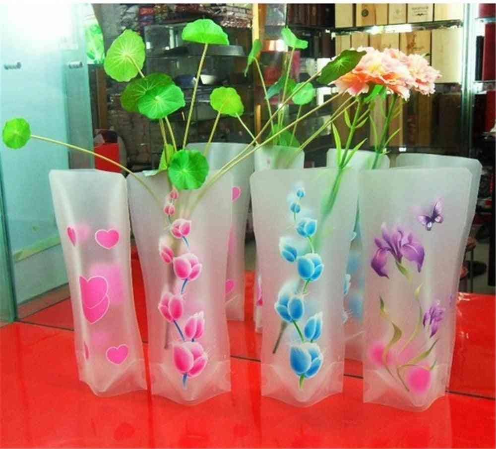 Plastic Pvc Vase Portable Eco-friendly Flower Cute Foldable Vase (random Color)