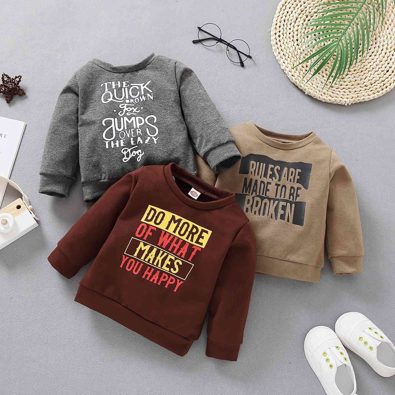 Baby Letter Print Round Neck Long Sleeve Top Casual Hoodie
