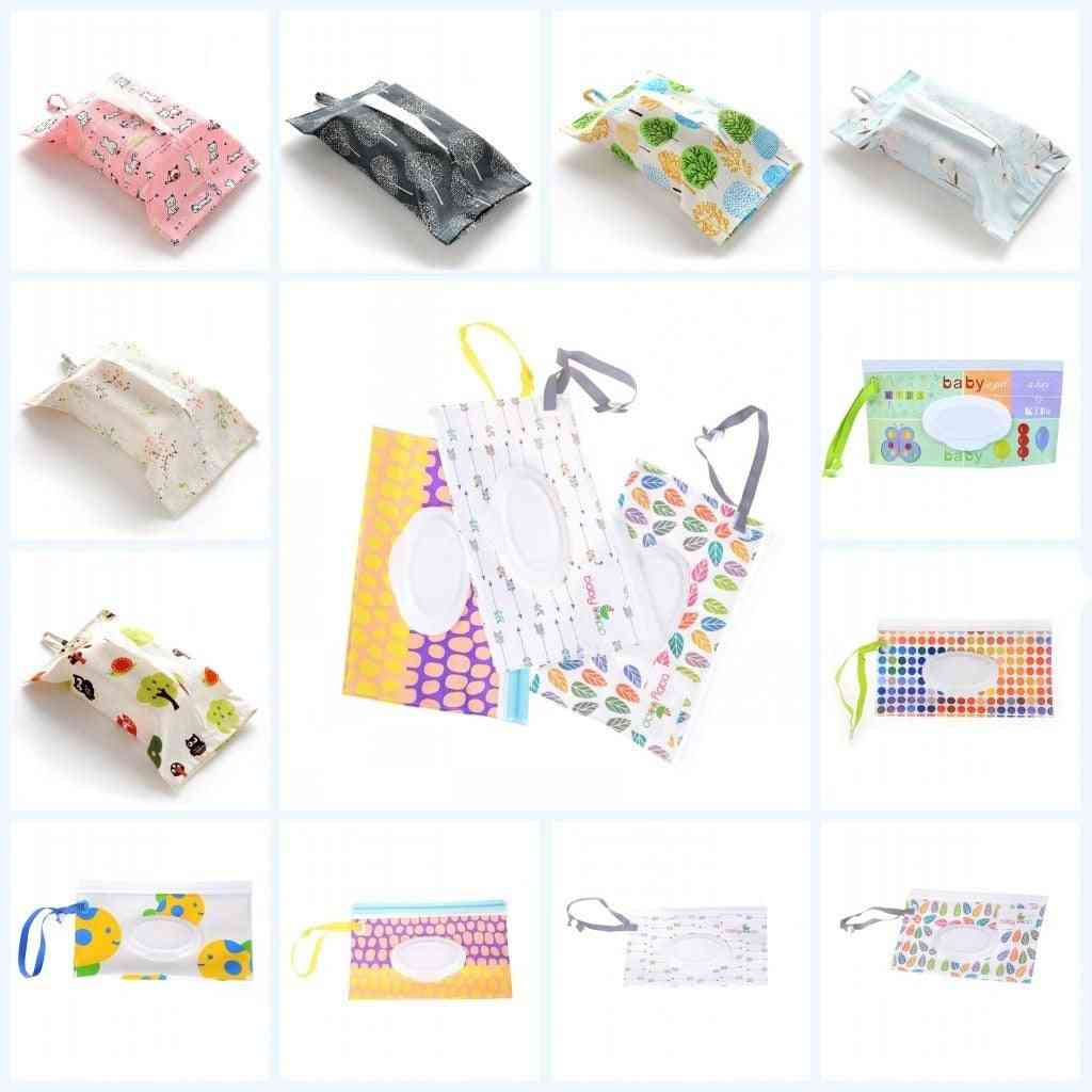 Baby Kids Wipe Clutch Carrying Bag, Wet Wipes Dispenser Snap-strap Pouch, Outdoor Travel, Paper Towel Container